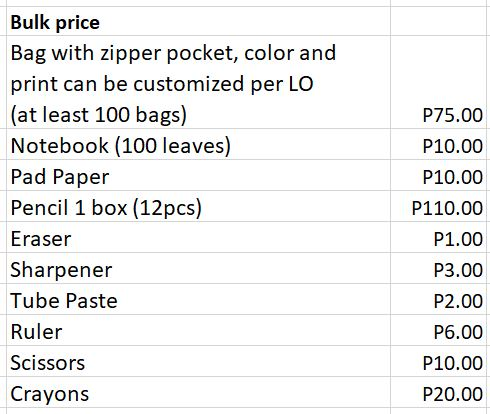 Bags to School Bulk Prices