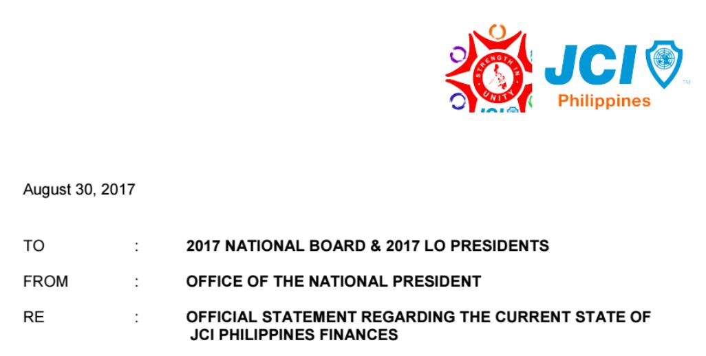 Official Statement Regarding the Current State of JCI Philippines Finances
