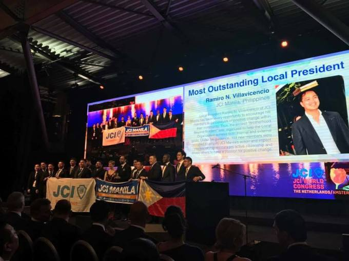 JCI World Congress Amsterdam 2017 Outstanding President Rami Villavicencio